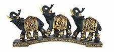 "12"" Thai Elephant Trio Figurine Black and Gold Color Statue Animal Decor"