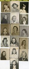 (16) Vintage BOOTH photo lot / YOUNG WOMEN & Teenage Girls / PHOTOBOOTHS 1930-60