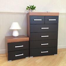 Black & Walnut 4+2 Drawer Chest & 2 Drawer Bedside Cabinet Bedroom Furniture 6
