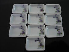 10 Purple Orchid Rectangle Plate Dollhouse Miniatures Ceramic Supply Deco