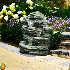Outdoor Waterfall Fountain Garden Backyard Patio Home Decor 3 Tier Rock Stone