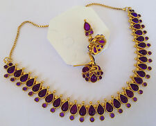 South Indian temple jewelry gold tone purple  stone necklace set and  earring