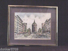 MANNHEIM WATER TOWER GERMANY ART PRINT #141 SIGNED???