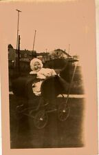 Old Vintage Antique Photograph Baby in Old Time Antique Baby Carriage