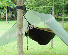Double Hammock Tent Outdoor Camping Rainfly Tarp with Stuff Sack Hook Ring Rope