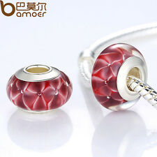 Fresh Red European Lampwork Murano Beads Glass Fitting Charm P Bracelet Jewelry