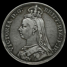 1888 Queen Victoria Jubilee Head Silver Wide Date Crown, Rare, Near VF