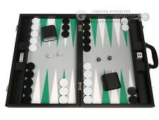 "19"" Premium Backgammon Set - Large Size - Black Board, White and Green Points"