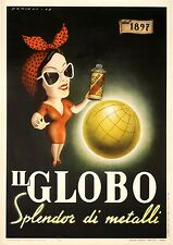 Original Vintage Il Globo Spray Paint Poster by Damiani 1949