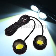 2x 12W Eagle Eye Car COB LED Headlight Round DRL Driving Daytime Running Lights