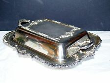 Antique Silverplate Old English Reproduction Double Entree Serving Bowl Dish Lid