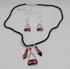 BLACK AND PINK SHOE AND PURSE PENDANTS NECKLACE AND EARRING SET - ENAMEL