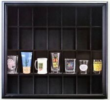 Shot Glass Display Case Black Wooden Wall Mounted Holds 28 Glasses Decor