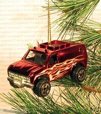 70's FORD ECONOLINE VAN 4x4 CHRISTMAS ORNAMENT Red/Black FLAMES XMAS