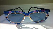 VINTAGE CAZAL Sunglasses GOLD Mod 871 Col 726 53/15 Blue Pink frames Blue Lenses