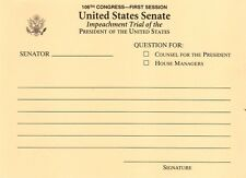 President Bill Clinton Impeachment Trial Question Card