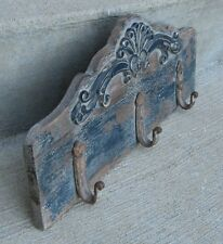 Wood w/Wrought Iron Hooks Wall Rack*Antique BLUE*Primitive/French Country Decor