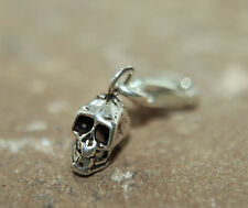 Cute little SKULL Charm Clip on 925 Sterling Silver bag bracelet Goth Biker