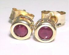 Beautiful 9ct Yellow Gold Ruby Solitaire Stud Earrings