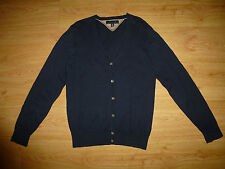 TOMMY HILFIGER THIN NAVY V NECK BUTTON UP COTTON CARDIGAN FOR MEN SIZE S
