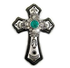 Western Cowgirl Silver Plated Faux Turquoise, Black & Silver Cross Pendant
