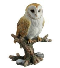 "6.5"" Barn Owl Perching On Branch Home Decor Figure Sculpture Statue Animal Bird"