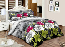 PurpleGreyRose__King__100%Cotton Top Percale Quality Printed Duvet Cover Set
