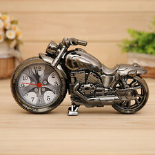 Motorcycle Shape Desk Digital Alarm Clock Silver Quartz Movement Vintage Gift