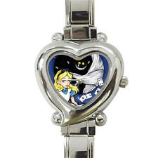 Hot New Alice in Wonderland Tattoo heart italian charm watch free shipping
