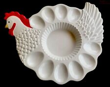 Teleflora Ceramic Rooster Chicken Deviled Egg Plate Platter for Easter Table