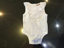 Juicy Couture New & Gen. Baby Girls White Frilled Cotton Vest With Logo 0/3MTHS