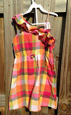 Gymboree Girls 9 Batik Summer Madras Plaid One Shoulder Sun Dress Ruffle Pink