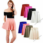 LADIES SKATER FRANKIE STRETCH WAIST PLAIN FLIPPY FLARED JERSEY SHORT SKIRT