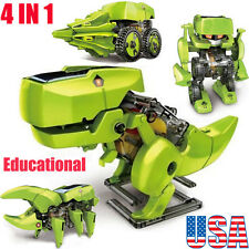US DIY 4 IN 1 Educational Learning Electronic Power Solar Robot Dinosaur Kit Toy