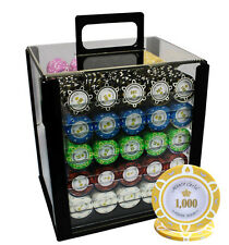 1000 14G MONTE CARLO POKER ROOM POKER CHIPS SET ACRYLIC CASE