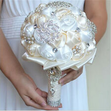 White Rose Flower Bridal Wedding Bouquet Wtih Crystal Pearl Silk Satin Brooch