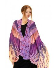 Blush Wings Hand-Painted Scarf Wrap, Silk and Cashmere Blend