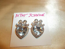 Betsey Johnson Silver Crystal Heart Bow Stud Earrings NWT $30