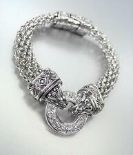 CLASSIC Silver CZ Crystals Ring Balinese Filigree Mesh Magnetic Clasp Bracelet
