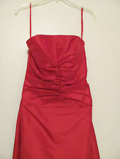 Juniors Long Red Formal Prom Party Strapless Dress with gathers in the front