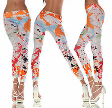 New Women Colorful Print Flower Leggings Stretchy Sexy Jeggings Pencil Pants