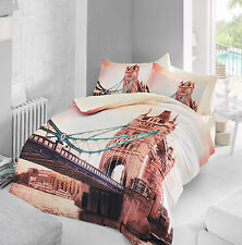 3D LONDRA TOWER BRIDGE 100% COTONE SATIN Copripiumino Set di biancheria da letto matrimoniale