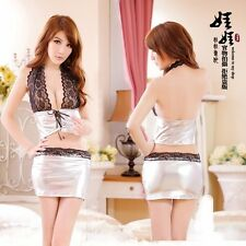 Brand New Silver Halter Car Racer Cosplay Costume Mini Dress Lingerie Set