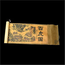 Collection of Chinese Old scroll painting on silk:White tiger figure NER055