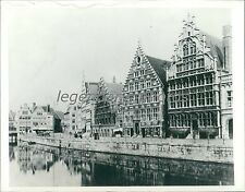 1940 Section of Ghent Belgium on Bruges Canal Original News Service Photo