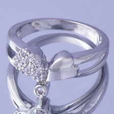 Womens Girls White Gold Filled Crystal Silver HEart Ring Size 5 For Kid