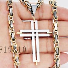 5mm Gold Men Stainless Steel Cross Pendant Necklace 24inch Byzantine Box Chain