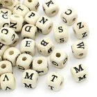 50 x Natural Mixed Alphabet Letter Cube Wood Craft Beads - 10mm - L22006