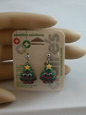 Claire's Sensitive Solutions Holiday Christmas Tree Eyes  Earrings USA SELLER