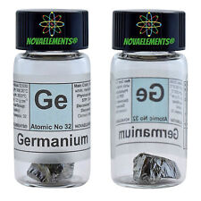 Germanium metal element 32 Ge sample crystal 1 gram 99,999% glass vial + label